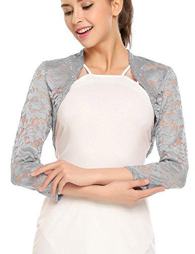 Meanor Womens Long Sleeve Floral Lace Bolero Cardigan Crop Shrug Top, Light Grey, ()