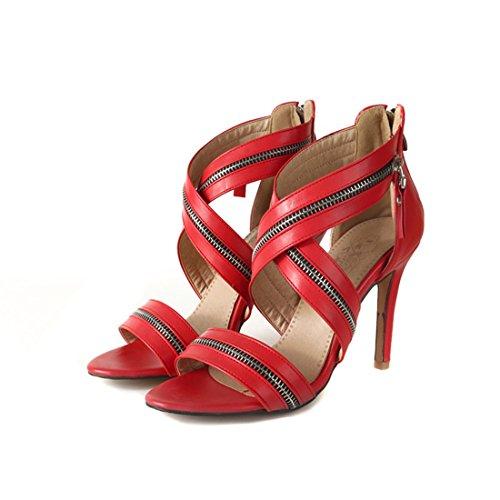 40 sandali i spillo i tacchi sandali sandali cave a sandali Rosso signore cerniere sexy dOwtqBx