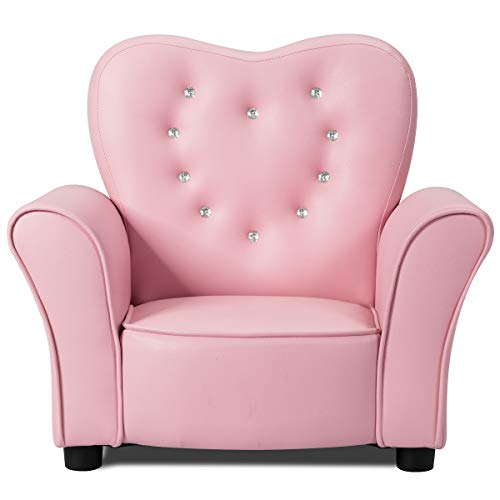 INFANS Children Sofa Pink, Kids PVC Leather Upholstered Couch with Bejeweled Backrest, Sturdy Wood Frame, Extra Thick Sponge, Multifunction Toddler Armrest Chair, Pink (23-Inch Single Sofa)