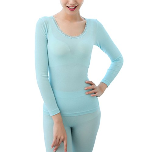 Zhhlaixing Hot Fashion Mujeres Lined Shirt and Pants Thin Slim Seamless Thermal Underwear Set Light Blue