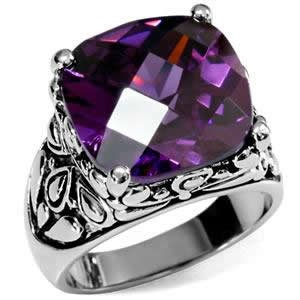 Stainless Steel Ornate Purple Cushion Cut CZ Cocktail ()