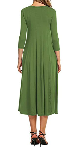 Women 3/4 Sleeve Casual Swing Flared Midi Long Dress