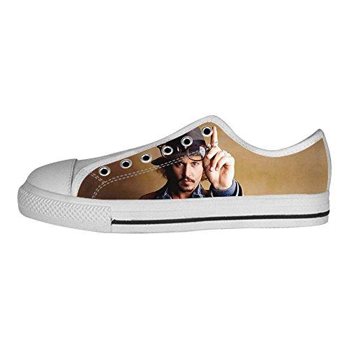 DONGMEN Custom Johnny Depp Flat Canvas Shoes Sneakers For Women