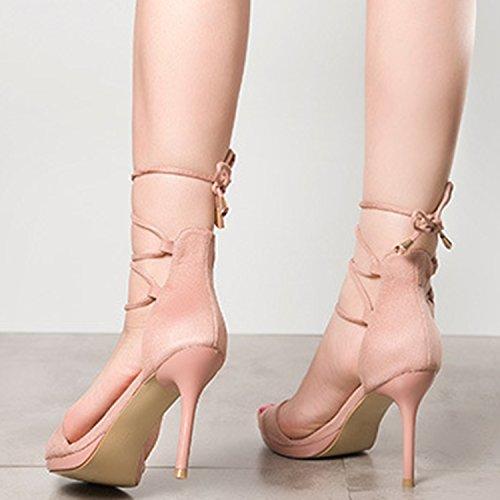 Azbro Mujer Moda Sandalias de Tacón Alto Cordón-arriba Tobillo Puntera Abierta Negro