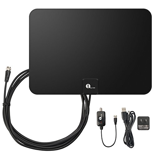 1byone TV Antenna, 50 Mile Range Amplified HDTV Antenna with Detachable Amplifier Signal Booster, USB Power Supply and 10 Feet Highest Performance Coaxial Cable-Black (Digital Reception Booster)