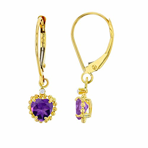 14K Yellow Gold 1.25mm Round Created White Sapphire & 5mm Heart Amethyst Bead Frame Drop Leverback Earring