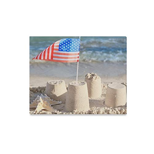 Wall Art Painting Sand Castle American Flag On Beach Prints On Canvas The Picture Landscape Pictures Oil for Home Modern Decoration Print Decor for Living Room
