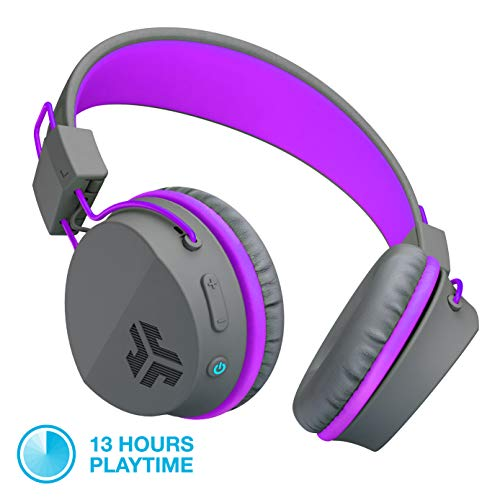 JLab Audio JBuddies Studio Bluetooth Over-Ear Kids Headphones | 13 Hour Battery Life | Studio Volume Safe | Volume Limiter | Folding | Adjustable | Noise Isolation | with Mic | Graphite/Purple