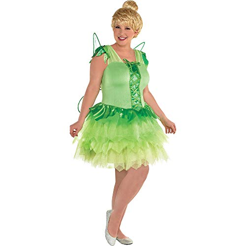 SUIT YOURSELF Peter Pan Tinker Bell Costume for Women, Plus Size, Includes a Green Fairy Dress and Matching Green Wings -