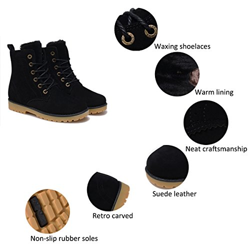 Mens Womens Unisex Winter Boots Warm Lining Martin Boots Waterproof Ankle Boots Snow Boots Non-Slip Boots Flat Winter Shoes Lace Up Boots Outdoor Worker Boots Shoes Black 4Zrsw5iW