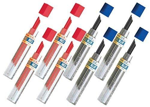 Pentel Lead Refills 0.7mm RED (4 Tubes PPR-7) + Blue (4 Tubes PPB-7), 12 Leads per Tube