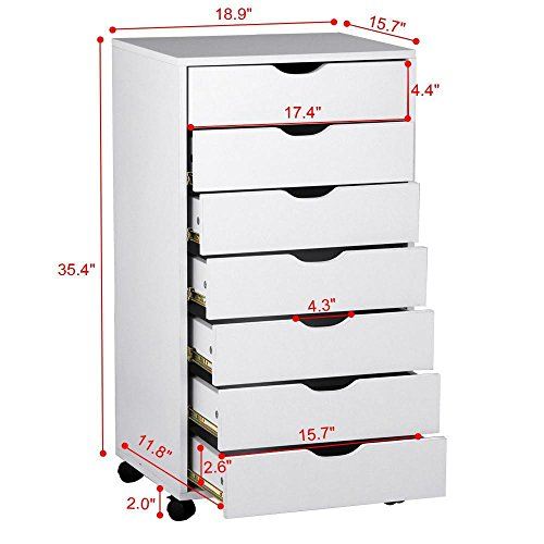 go2buy 7 Drawer Cabinet on Removable Caster Wheels for Office & Closet, White