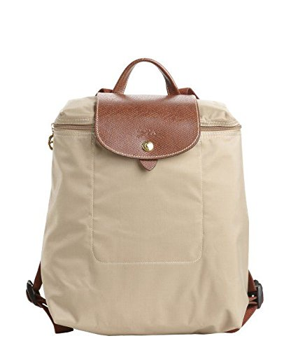 Longchamp Le Pliage Zippered Nylon Backpack in Beige