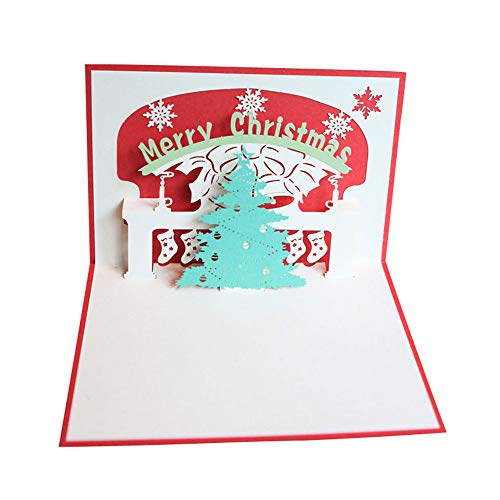 Weite 3D Christmas Pop Up Greeting Card, Handmade Birthday Cards with Envelopes for Sister, Mom, Wife, Kids, Boy, Girl, Friend (E)