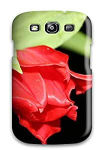 ZippyDoritEduard Case Cover For Galaxy S3 - Retailer Packaging Red Flower In Black Protective Case
