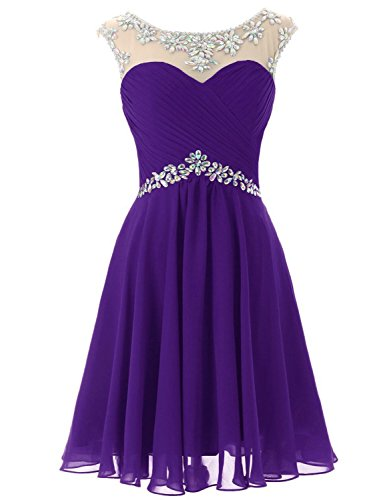 Sarahbridal Juniors Prom Dress Short 2019 Beaded Sheer Neck Bridesmaid Party Gowns Purple US4 (Beaded Sheer Prom Dress)