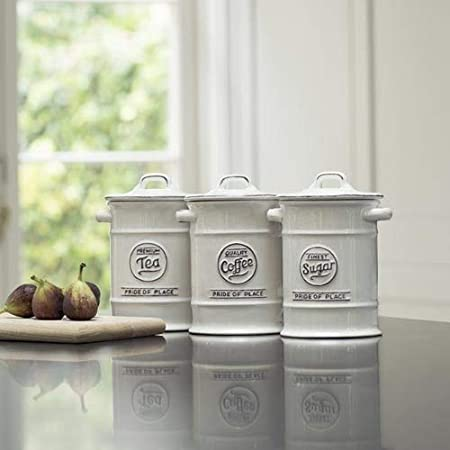 Pride of Place Tea Coffee and Sugar Storage Jars Ceramic White