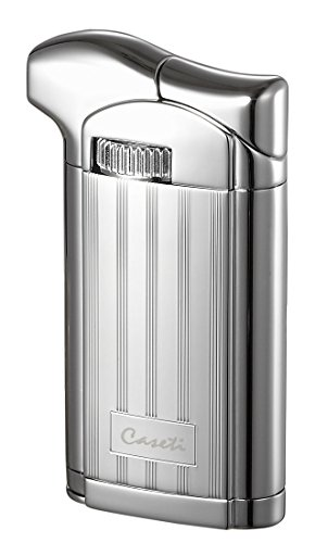 Visol Products Caseti Felix Chrome Lines II Soft Flame Pipe Lighter with Tamper - Soft Blue Torch Flame Lighter
