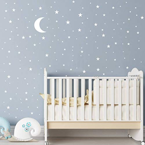 Moon and Stars Wall Decals,173 Decals Vinyl Wall Art Decal Sticker Design for Nursery Room DIY Mural Decoration Festival Birthday Gift for Kids Home House Bedroom ()