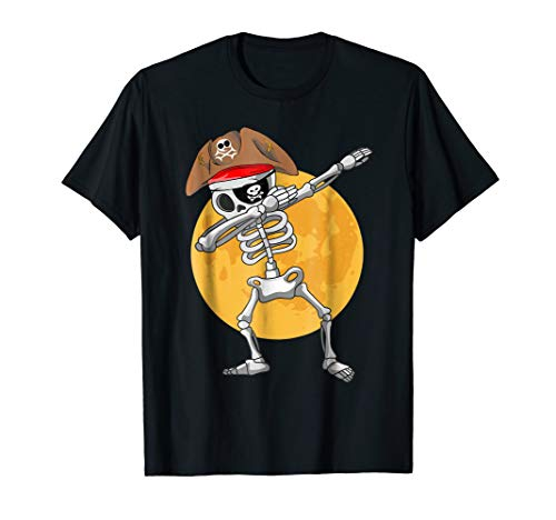 Dabbing Skeleton Pirate T shirt Halloween Costume Gift -