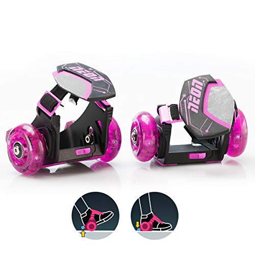Yvolution Neon Street Rollers Pop N Lock Flashing Heel Wheels Clip on Skates