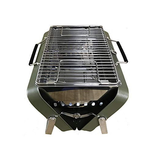 - DALANG INC. Portable Charcoal Grill Picnic Camping Garden Backyard Fireplace Firepit Stove Patio Foldable BBQ Grill Tools Porcelain Grid (Green Color)