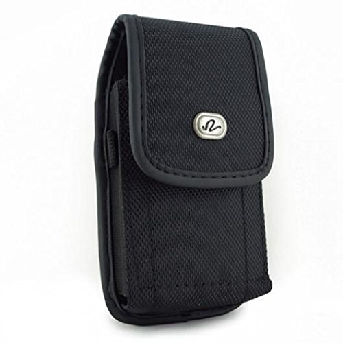 Black Rugged Canvas Phone Case Cover Protective Pouch Holster Belt Clip for Boost Mobile LG Optimus F7 - Boost Mobile LG Realm - Boost Mobile LG Tribute 2 (Lg Optimus F7 Rubber Phone Case)
