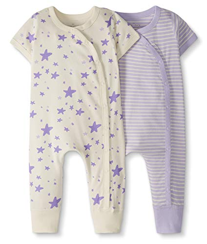 Moon and Back by Hanna Andersson Baby 2-Pack One-Piece Organic Cotton Short Sleeve Romper, Purple, Newborn from Moon and Back by Hanna Andersson