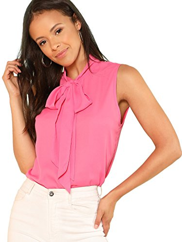 Floerns Women's Tie Bow Neck Sleeveless Chiffon Solid Blouse Top Pink M