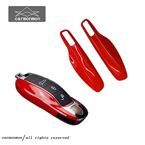 carmonmon Smart Protectors Keyless Remote Key Cases Shell Car Key Case Platic Cover Case Cover Side Blades for Porsche Cayenne Panamera(Red) ()
