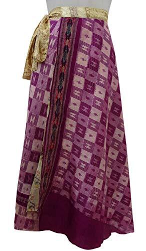 Indianbeautifulart Beach Wrap Check Soie Rouge Saree Dress Les Femmes Pure Summer Clair Pale rversible Violet et Vintage Imprimer Jaune rqvprx7w1
