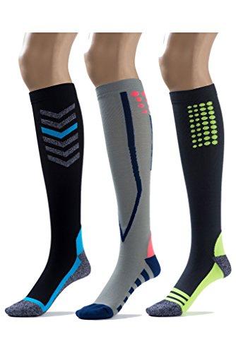Silky Toes Compression Socks for Men & Women (20-30 mmHg) Athletic Fit for Running, Nurses, Shin Splints, Flight Travel & Maternity Pregnancy (Multi Pack- Grey/Blue/Black, Medium) by Silky Toes (Image #10)