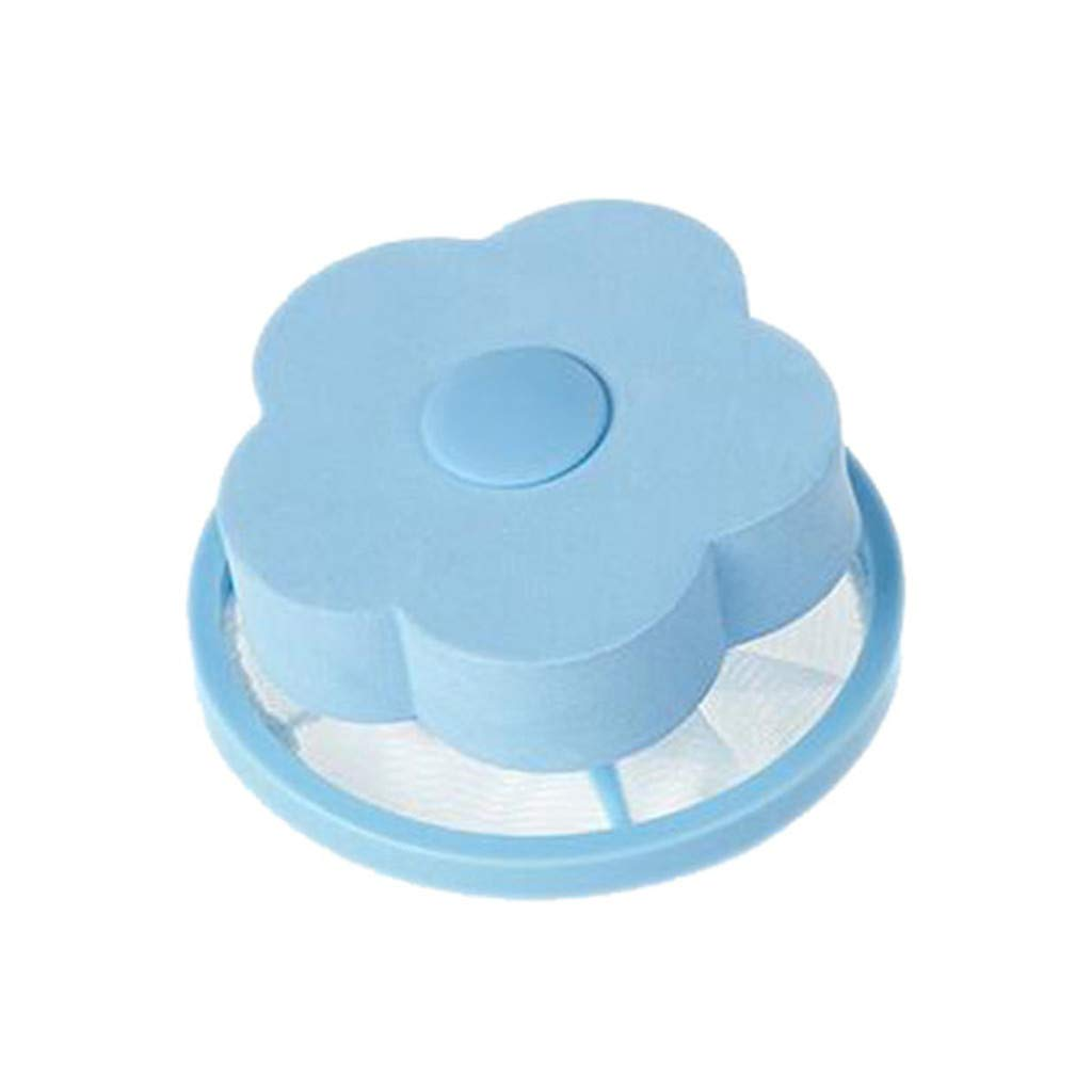 Midress Flower-Type Washing Machine Mesh Filtering Hair Removal Floating 2Pcs Filter Bag Washer Style Laundry Clean Filter Bags (Blue)