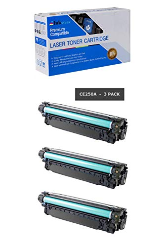 (Inksters Compatible Black Toner Cartridge Replacement for HP 504A (CE250A) Black - Compatible with Color Laserjet CP3525 CP3525N CP3525DN CP3525X CM3530 CM3530FS MFP (3 Pack))