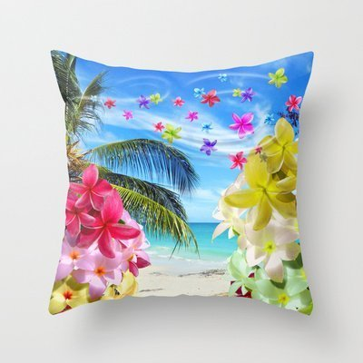 fashionable home decor yan tropical beach and exotic plumeria flowers new arrival comfortable pillowcase