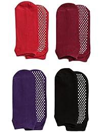 Yoga Socks Non Slip Skid Pilates Barre Ballet 4 Pack Socks with Grips Cotton for Women
