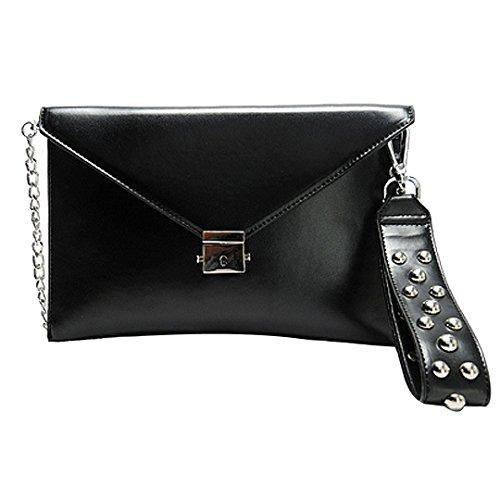 Punk Rivet Studded Envelope Clutch Handbag Chain Strap Wristlet Shoulder Cross Body Bag Black from (Studded Wristlet Clutch)