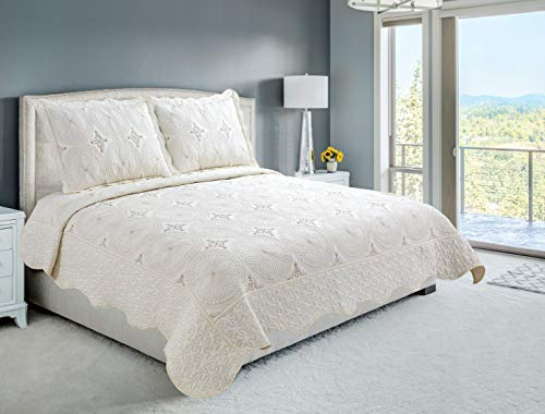 Beauty Sleep Bedding Luxury Embroidered Reversible 3 Pieces Quilt Set with 2 Quillted Shams, Cream Color, King (2 Shams Bedding)
