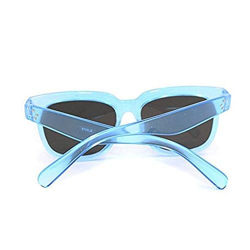 TININNA Vogue Femme Ossature PC Plastique Mode Lunettes de Soleil Wayfarer Anti-UV400 Femme avec Grande Cadre Plate Transparent & Bleu