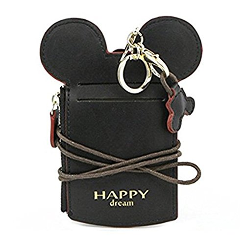 Cute Leather Lanyard ID Card Badge Holder With Coin Wallet Purse For School Students Women Kids Teens Girls Work Office