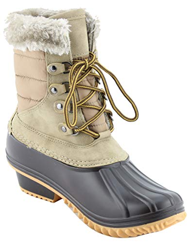 Nature Breeze Duck-02 Women Stitching Lace Up Side Zip Waterproof Insulated Boot, TPS Nova-01 Taupe Size 8