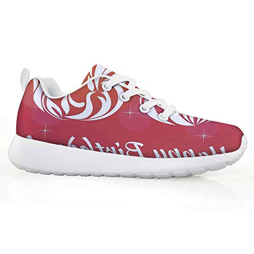 iPrint 36th Birthday Decorations Children Running Shoes Ombre Vivid Colored Thirty Six in Floral Design Image (Company Floral Trellis)
