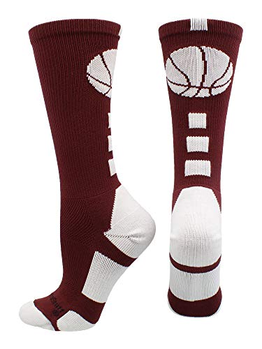 MadSportsStuff Basketball Logo Athletic Crew Socks, Medium - Maroon/White
