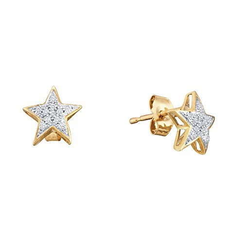 10k Yellow and White Two Tone Gold Star Shape Pave Set Round Diamond Stud Earrings (.05 ()