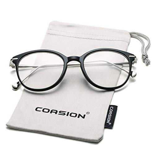 COASION Vintage Round Clear Glasses Non-Prescription Eyeglasses Frames for Women Men (Matte ()
