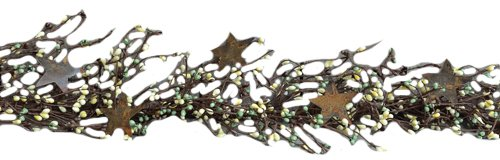 CWI Gifts Pip Berry and Star Garland, 40-Inch, Coffee Bean