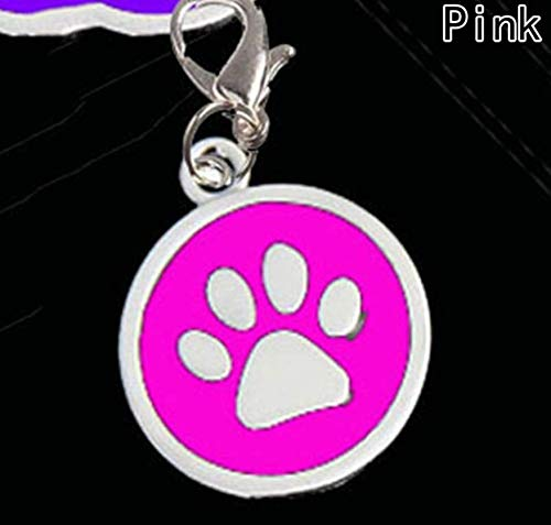 Dog Collar Jewelry Pink Pendants, Round silver-tone enamel dog pawprint charm with lobster ()