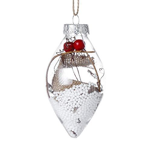 nanzhushangmao Christmas Clear Glass Ball Ornaments, Finial Drops Pendants Christmas Tree Pendant Home Christmas Party Hanging Decoration Ball (B)