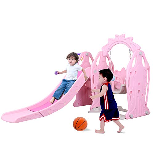 Genivation Indoor Climber and Swing Set Indoor Slide Indoor Swing Set Combination Swing Set with Slide Basketball (Pink) (Set For Slide Swing And Toddlers)