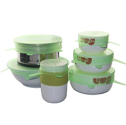 ThreeCat Set of 6 Silicone Stretch Lids Reusable Food Bowl Cover Wrap Cooking Kitchen Gadgets(Green)